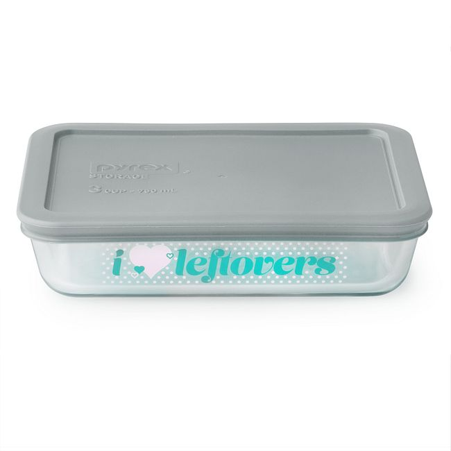 Leftovers 3-cup Glass Food Storage Container with Gray Lid