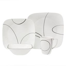 Square Simple Lines 16-piece Dinnerware Set