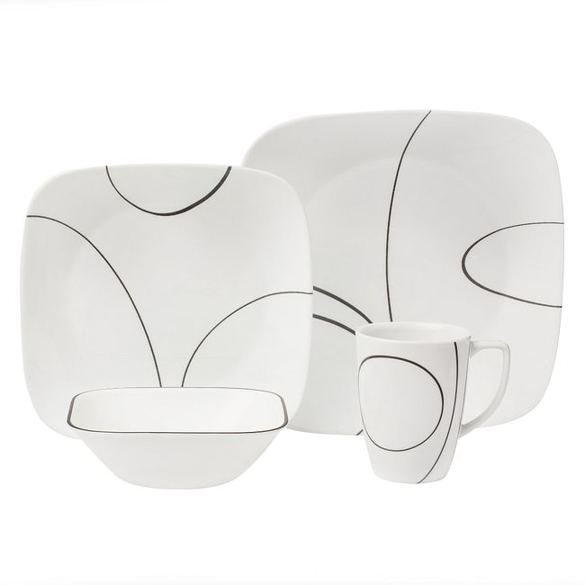 Simple Lines Dinnerware Set, Service for 4