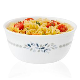 Signature Prairie Garden Gray 28-oz bowl  with food in bowl