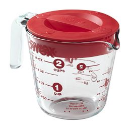 2 Cup Measuring Cup with Red Plastic Lid