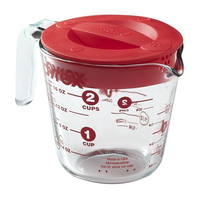 Pyrex 2 Cup Measuring Cup W/ Red Plastic Lid