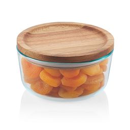 Glass Storage 4 Cup Round Dish  with Wood Lid showing food in bowl