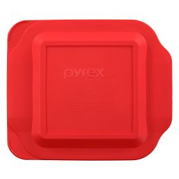 "8"" x 8"" Square Red Plastic Lid"