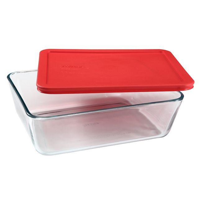 11-cup Rectangular Glass Food Storage Container with Red Lid