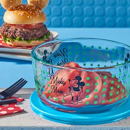 MIckey Mouse decorated storage with tomatoes in bowl