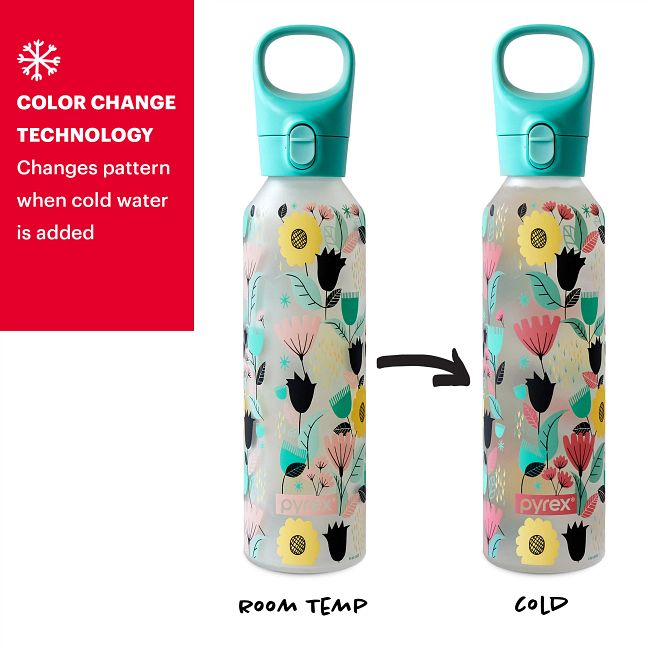 17.5-ounce Glass Water Bottle with Silicone Coating: Florals Bold