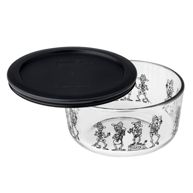 Simply Store 4 Cup Day of the Dead Mariachi Band Storage Dish w/ Black Lid