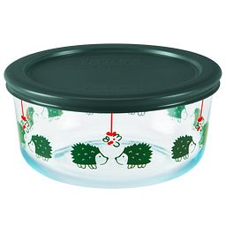 Hedgehog 4-cup Storage Dish with Green Lid On