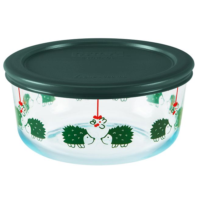 Hedgehog 4-cup Glass Food Storage Container with Green Lid