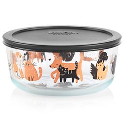 Dog and Cat 7-cup Glass Food Storage Container