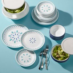 Santorini Sky 78-pc Dinnerware Set on the table