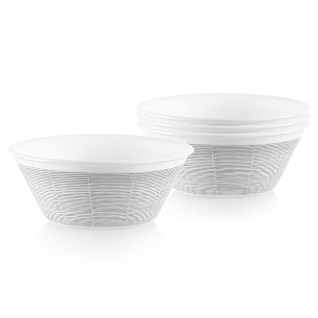 Woven Lines 21.5-ounce Medium Soup Bowls, 4-pack