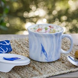 20-oz Marble Marine Blue Meal Mug™ with Lid on taable with soup
