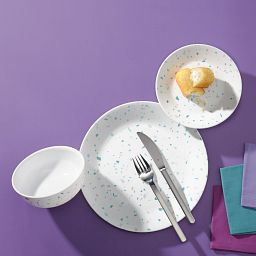 Terrazzo Verde 18-piece Dinnerware Set, Service for 6 on the table