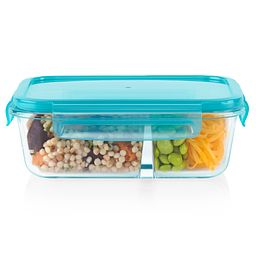 MealBox 3.4-cup Divided Glass Storage Container with Turquoise Lid with food inside