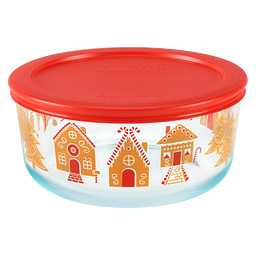 Gingerbread Village 7-cup Glass Food Storage Container with Lid on the bowl