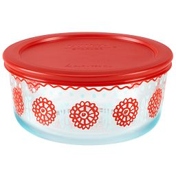 Bloom Crimson 4-cup Storage Dish with Red Lid On