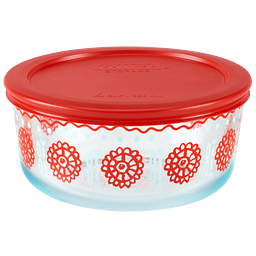 4 Cup Bloom Crimson Storage Dish w/ Red Lid On