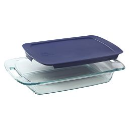 Easy Grab 3-qt Oblong Baking Dish w/ Blue Lid