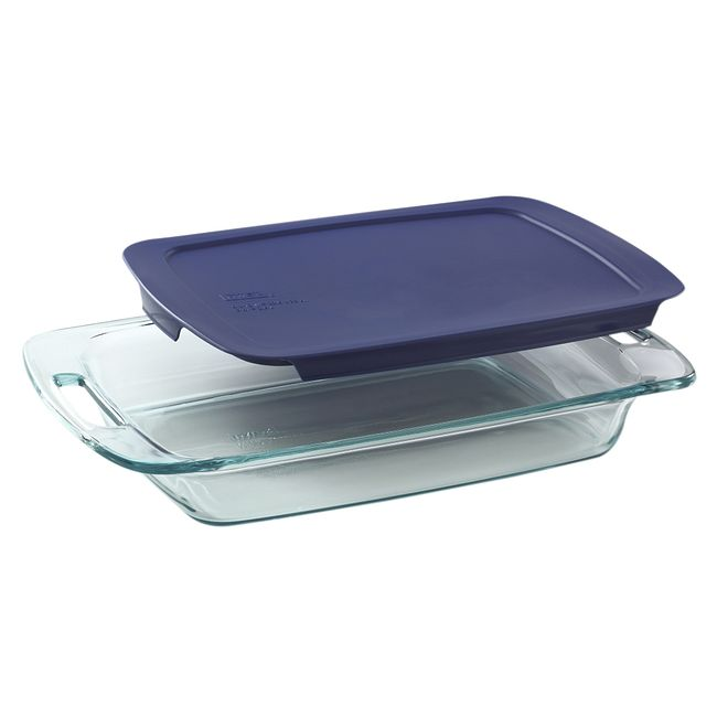 3-quart Glass Baking Dish with Blue Lid