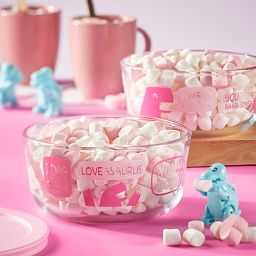 Loveasaurus 4-cup storage with marshmellows in bowl
