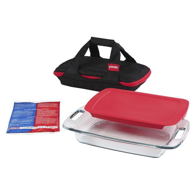 4-piece Portables Set with Black Bag and Red Lid