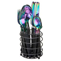 Tomodachi Rainbow Titanium 17-pc Flatware Set with Natural Wire Caddy