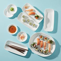 Winter Frost White 9-piece Sushi and More Set serving sushi