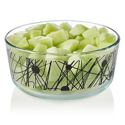 Noir 7-cup Glass Food Storage Container with Melon inside