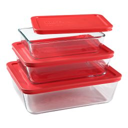 Simply Store® 6-pc Rectangular Set, Red Lids