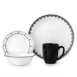 Livingware™ Black  &  White Mix and Match Set 16-pc Dinnerware Set