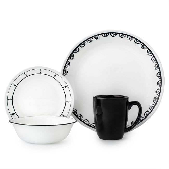 Black and White 16-piece Dinnerware Set, Service for 4