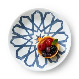 "Signature Amalfi Azul 6.75"" Appetizer Plate with Food"