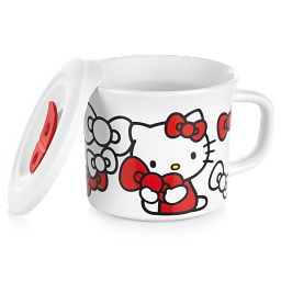 Hello Kitty 20-ounce Meal Mug with Lid propped on the side