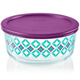 Diamonds 7-cup Glass Food Storage Container with Purple Lid