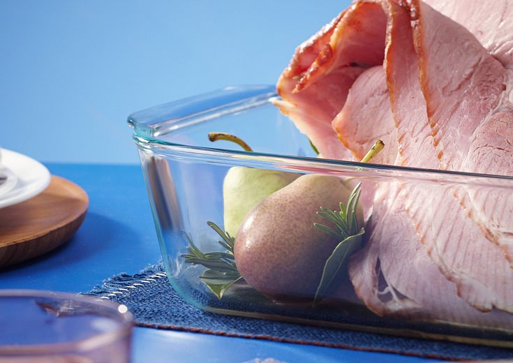 Sliced Ham with Pears in Pyrex Deep 9x13 Dish