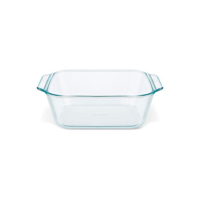 "Deep 8"" Square Glass Baking Dish with Sage Green Lid"