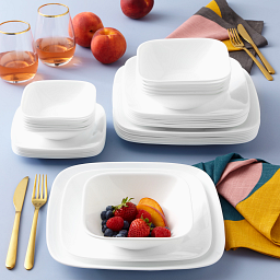 Pure White 44-piece Dinnerware Set, Service for 8 on the table