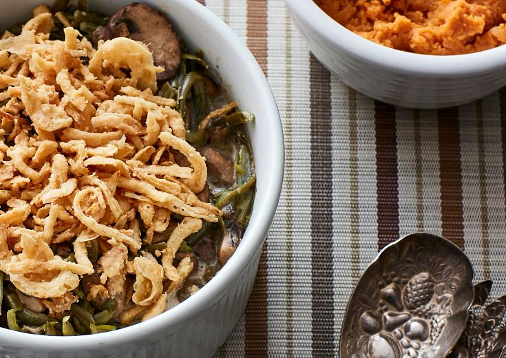 corningware casserole and squash on table