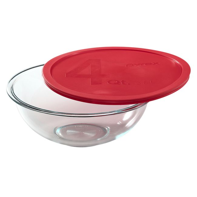 4-quart Mixing Bowl with Red Lid