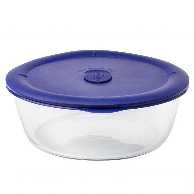 3-quart Glass Food Storage Container with Blue Vented Lid