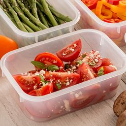 open containers with vegetables