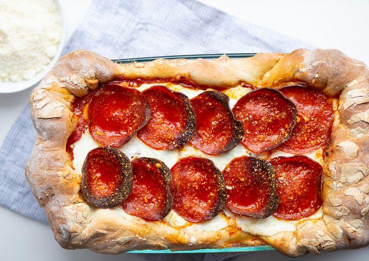 Pepperoni Pizza shon in a Pyrex Deep Dish Baking Dish