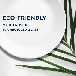 Text that says: Eco-Friendly – Made from up to 80% recycled Glass