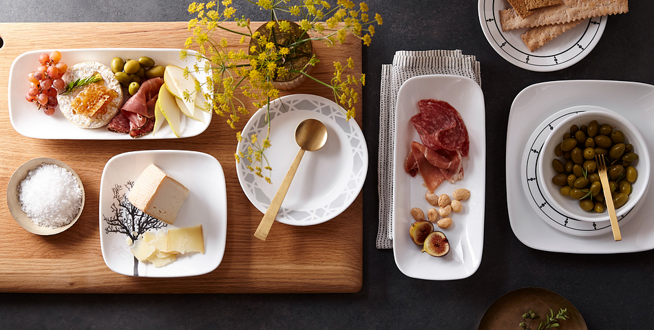 Charcuterie Spread on Various Sized Plates from Corelle