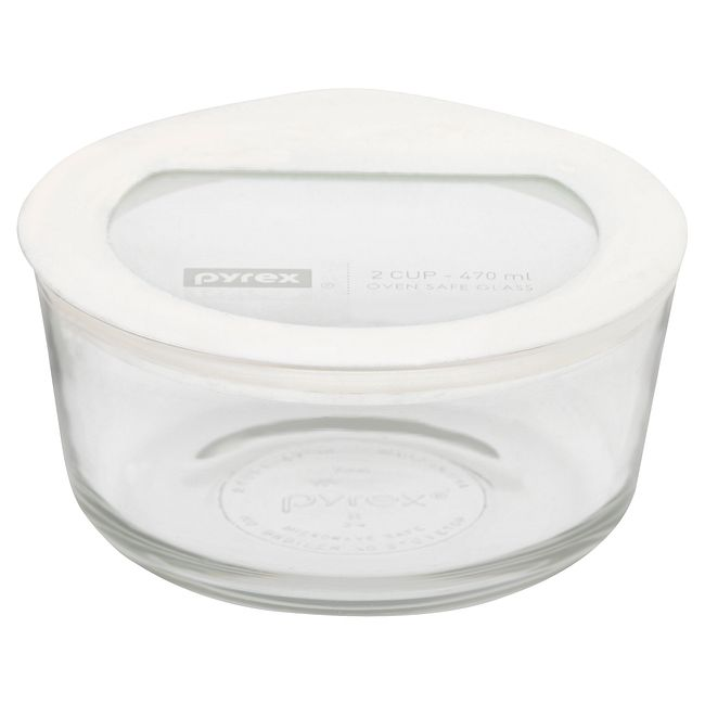 2-cup Round Glass Food Storage Container with White Lid