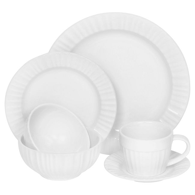 French White 6-piece Dinnerware Set , Service for 1