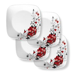 Chelsea Rose Square Dinner Plate Set, 4-pk