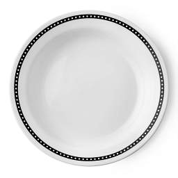 Livingware™ Ribbon 15-oz Wide Rimmed Bowl  Black  &  White Top View
